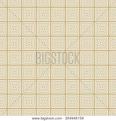 Vector Golden Geometric Squares Seamless Pattern. Abstract White And Gold Graphic Ornament With Line