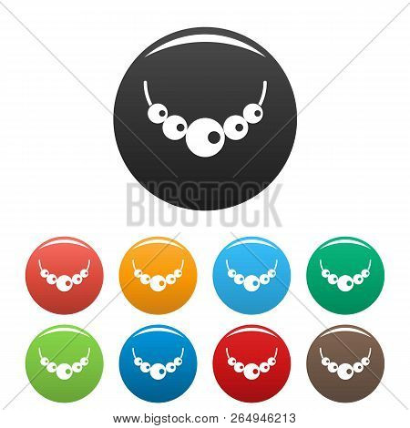 Pearls Icons Set 9 Color Vector Isolated On White For Any Design