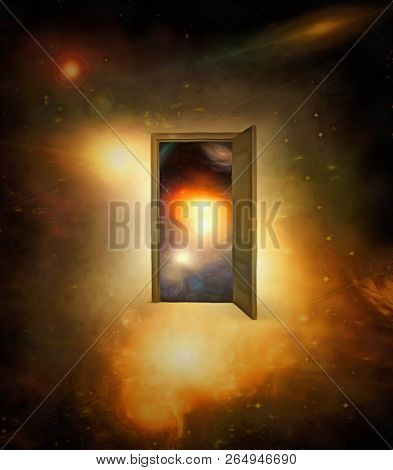 Surrealism. Door to another dimension in colorful space. 3D rendering
