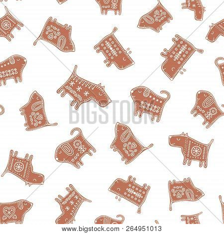 vector seamless pattern with gingerbread dogs cute new year background with cookie puppy illustrat