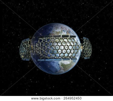 3d Illustration Of A Honeycomb Geodesic Structure Surrounding Earth As A Symbol Of Humanity Reaching