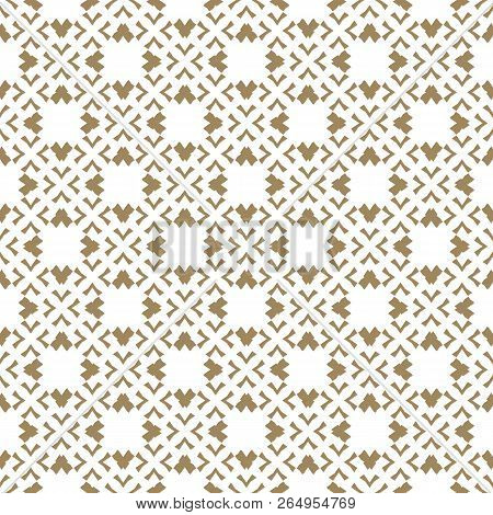 Vector Golden Pattern In Traditional Japanese Style. Abstract Geometric Seamless Texture With Floral