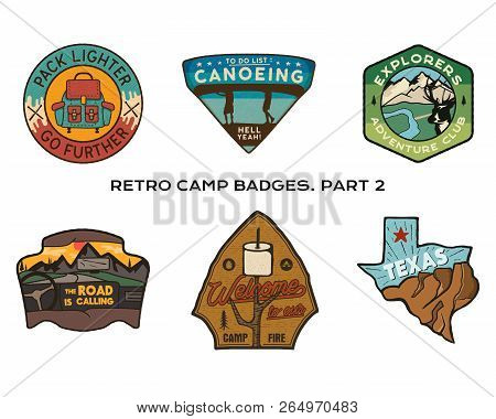 Vintage Hand Drawn Travel Badges Set. Camping Labels Concepts. Mountain Expedition Logo Designs. Out