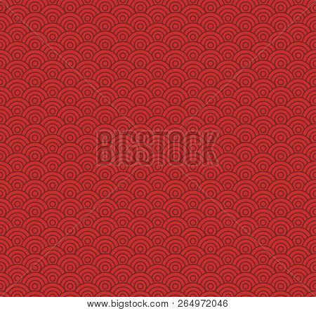Chinese Seamless Pattern, Red Tones Asian Style