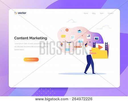 A Man Carries A Large Folder With Media Files. Creating, Marketing And Sharing Of Digital - Vector I