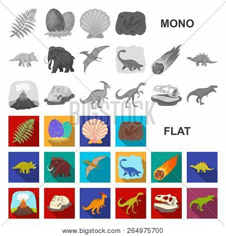 Different Dinosaurs Flat Icons In Set Collection For Design. Prehistoric Animal Vector Symbol Stock
