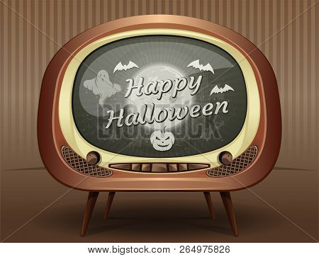 Halloween Greeting Card In Retro Style. Congratulations With Halloween On The Screen Of An Old Vinta