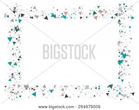 Blast Glass Shatter Memphis Vector Frame. Explosion, Triangle Flying Particles Grunge Border Design.
