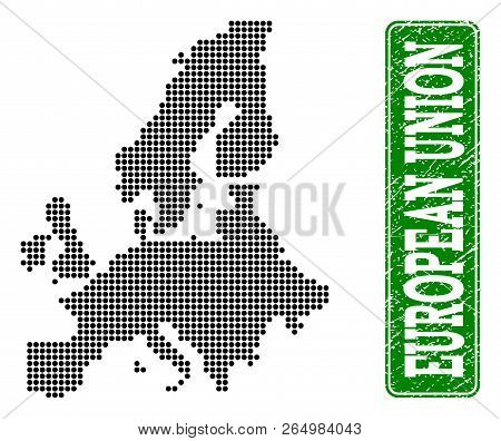 Dotted Map Of Euro Union And Scratched Caption. Vector Green Title Inside Rounded Rectangle And Scra