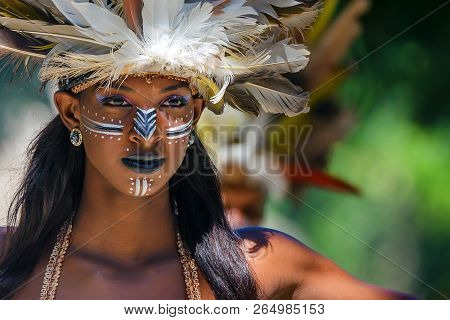 Santo Domingo, Dominican Republic - October 9, 2015: Young Beautiful Creol Woman