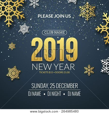 New Year 2019 Party Invitation Poster Design. Retro Gold Typography And Ornament Decoration Illustra