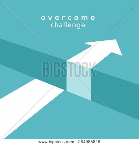 Vector Challenge Concept. Obstacle Arrow Chasm For Business Cucess Concept.