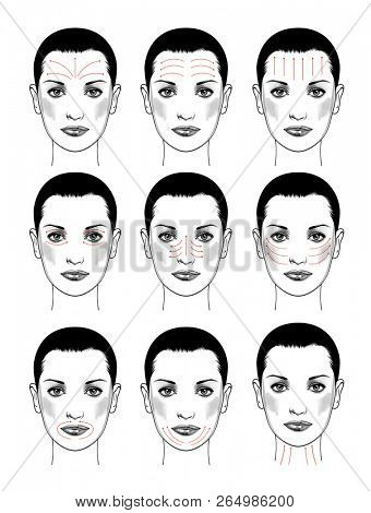 Face massage instruction for all face parts demonstrated on beautiful woman. Beautiful young woman with red arrows over face. Isolated on white. Vintage engraving stylized drawing.