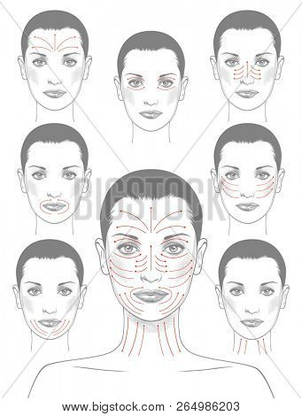 Face massage instruction for all face parts demonstrated on beautiful woman. Beautiful young woman with red arrows over face. Vintage engraving stylized drawing.