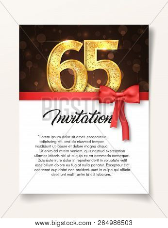 Wedding Invitation Card Template To The Day Of The Sixty-five Anniversary With Abstract Text Vector