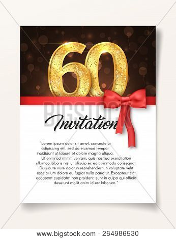 Wedding Invitation Card Template To The Day Of The Sixty Anniversary With Abstract Text Vector Illus