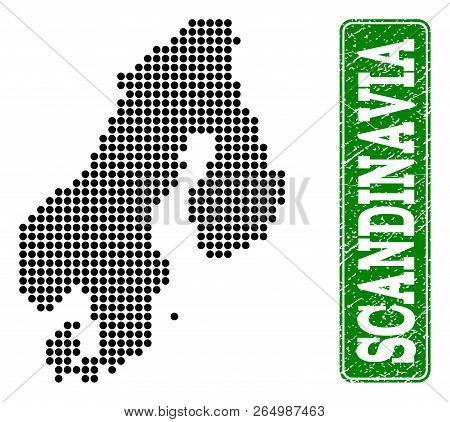 Dotted map of Scandinavia and grunge caption. Vector green title inside rounded rectangle and grunge rubber texture. Pixelated map of Scandinavia designed with black pattern of round dots. poster