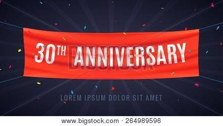 30 Years Anniversary Design Celebration. Red Flag Anniversary Bithday Decoration Party Event 30th.