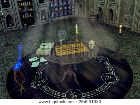 A Table With An Ouija Board, A Candle, A Crystal Ball And A Skull In A Fantasy Temple. 3d Illustrati