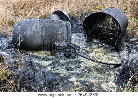 Hazardous Waste. Spillage Of  Industrial Toxic Waste In Nature. Pollution Of The Environment