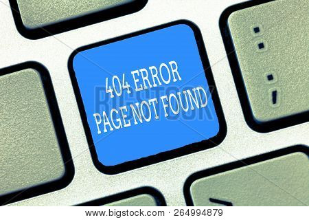 Text sign showing 404 Error Page Not Found. Conceptual photo Webpage on Server has been Removed or Moved poster