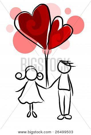 Couple In Love - Beauty Illustration