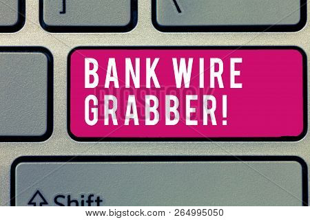Word Writing Text Bank Wire Transfer. Business Concept For Electronic Transfer Of Money Through Bank