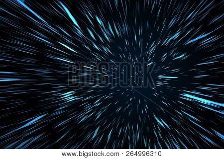 Blue High Speed Space Warp Blur Background. 3D Illustration.