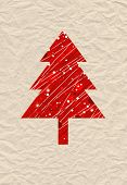 abstract christmas tree illustration on old crumpled  paper poster