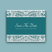 Wedding invitation card template with crochet lace border ornament, decorative lacy frame with place for text poster
