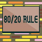 Text sign showing 80 20 Rule. Conceptual photo Pareto principle 80 percent effects come from 20 causes poster