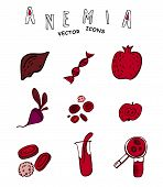 Creative anemia icons in doodle style. Hand drawn vector illustration in black and red colors isolated on white background. Medical, healthcare and educational concept. Medical pictograms set. poster