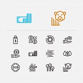 Finance trading icons set. Broker and finance trading icons with invest money, margin and dividend. Set of deposit for web app logo UI design. poster