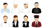 Set Of Restaurant People Icons, Isolated On White poster
