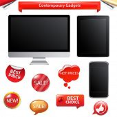 3 Contemporary Gadgets - Computer, Fictitious Touch Tablet And Phone, Isolated On White Background poster
