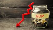 Decline and decrease of GDP - failure and breakdown of economy and finances leading to financial crisis and trouble. Drop in gross domestic product poster