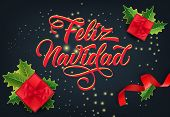 Feliz Navidad festive card design. Christmas gifts, ribbons and mistletoe leaves on sparkling black background. Template can be used for banners, flyers, posters poster