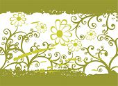 Abstract grunge green floral pattern on a white background. poster