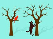 Barking Up The Wrong Tree, a dog standing on its hindlegs barking up the wrong tree while the cat shelters in another poster
