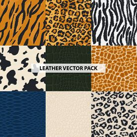 Seamless Leather, Fur Textures Pattern Set. Luxury Leather Textures - Print Background. Animal Safar