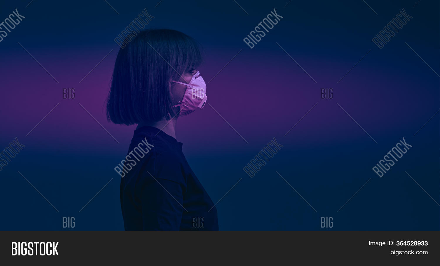 Portrait In Profile Of A Young Girl In A Surgical Mask On A Dramatic Background. Stop The Virus Post