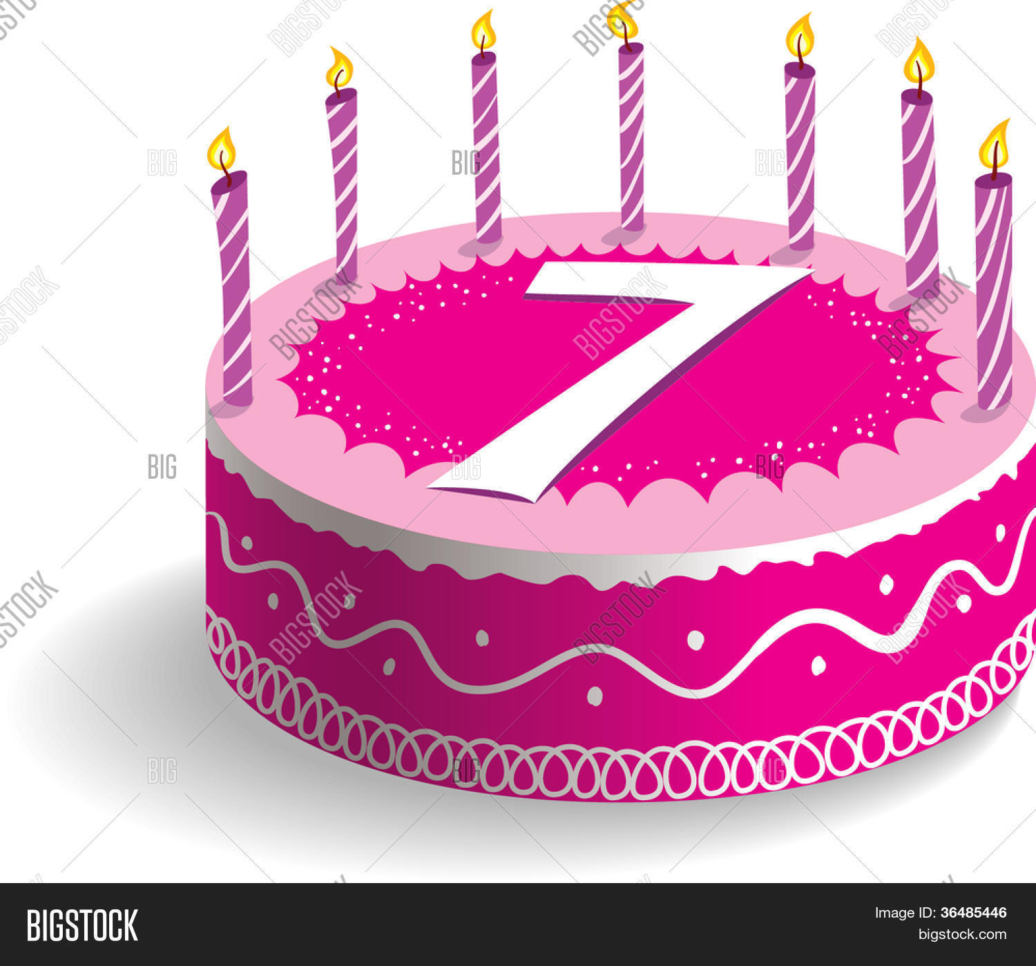 Seventh Birthday Cake Vector Photo Free Trial