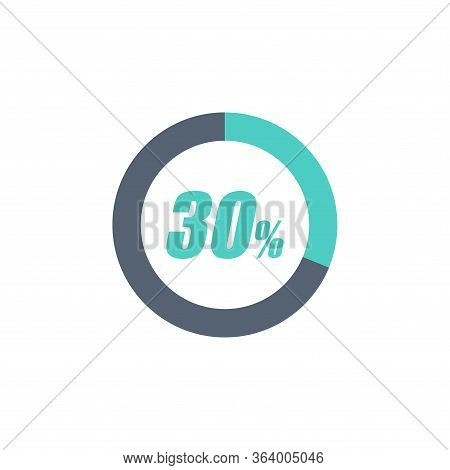 30% Circular Progress Loading Bar Isolated On White Background. Round Buffering Percentage Icon Coll