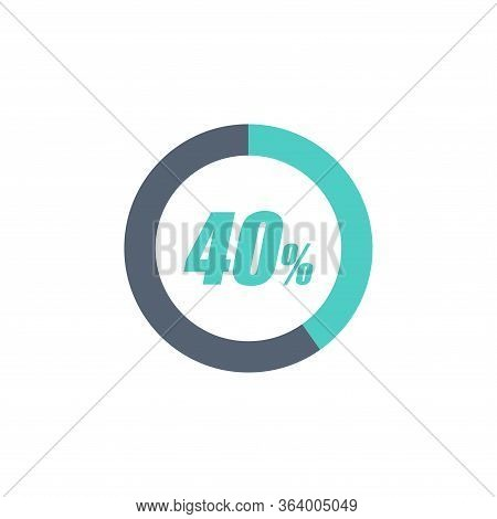 40% Circular Progress Loading Bar Isolated On White Background. Round Buffering Percentage Icon Coll