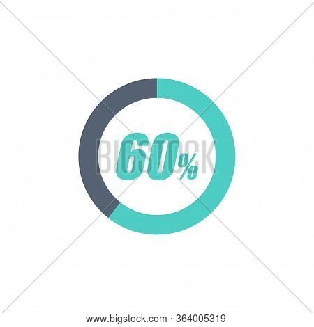 60% Circular Progress Loading Bar Isolated On White Background. Round Buffering Percentage Icon Coll