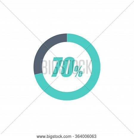70% Circular Progress Loading Bar Isolated On White Background. Round Buffering Percentage Icon Coll