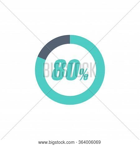 80% Circular Progress Loading Bar Isolated On White Background. Round Buffering Percentage Icon Coll