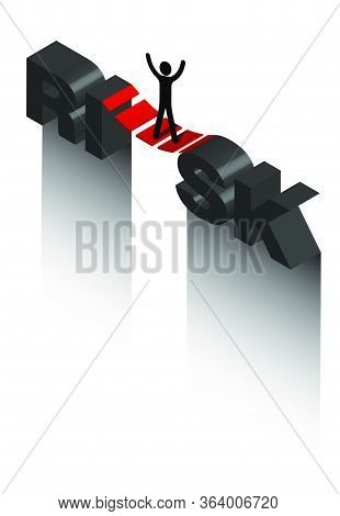 Isometric On The Topic Of Risk, A Stick Man Stands On A Suspension Bridge Over A Precipice. Fear Of