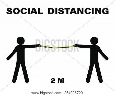Social Distancing. Keep 2 Meter Distance. Coronovirus Epidemic Protective. Vector Illustration