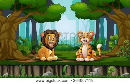 Lion And Tiger Sitting In The Middle Of Forest